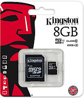 Карта памяти Kingston microSDHC 8 Gb class 10 UHS-I + adapter, фото 1