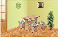 Кухонный комплект стол + 4 табурета мягких