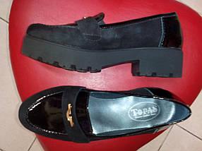 Туфли замшевые на тракторной танкетке с лаковыми вставками Topas., фото 2