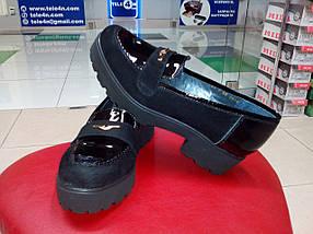 Туфли замшевые на тракторной танкетке с лаковыми вставками Topas., фото 3
