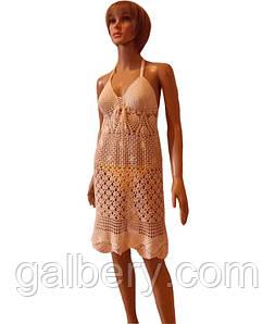 В'язана туніка - сарафан з відкритою спиною, ручної роботи перлового кольору