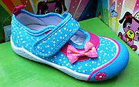 Мокасины текстильные для девочки голубые Super Gear