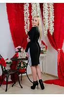 Платье до колена с гипюром черное, фото 1