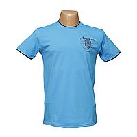 Мужская синяя стрейчевая футболка Lycra пр-во Турция 14042-2