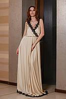 Женское платье в пол из шёлка +французское кружево