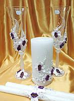 """Свадебный комплект """"Букет орхидей"""" бело/фиолетовые."""