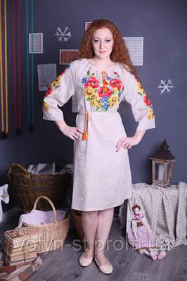 Классическое украинское платье из серого льна