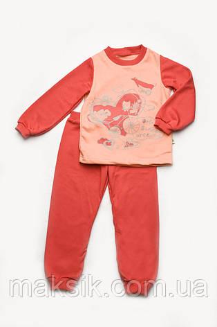 Пижама для девочки (коралл-персик )  с начёсом р.92-122см, фото 2