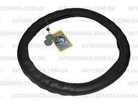 Оплетка кожа Чехол на руль натуральная кожа 250 BK L черная перфориров под пальцы, фото 1