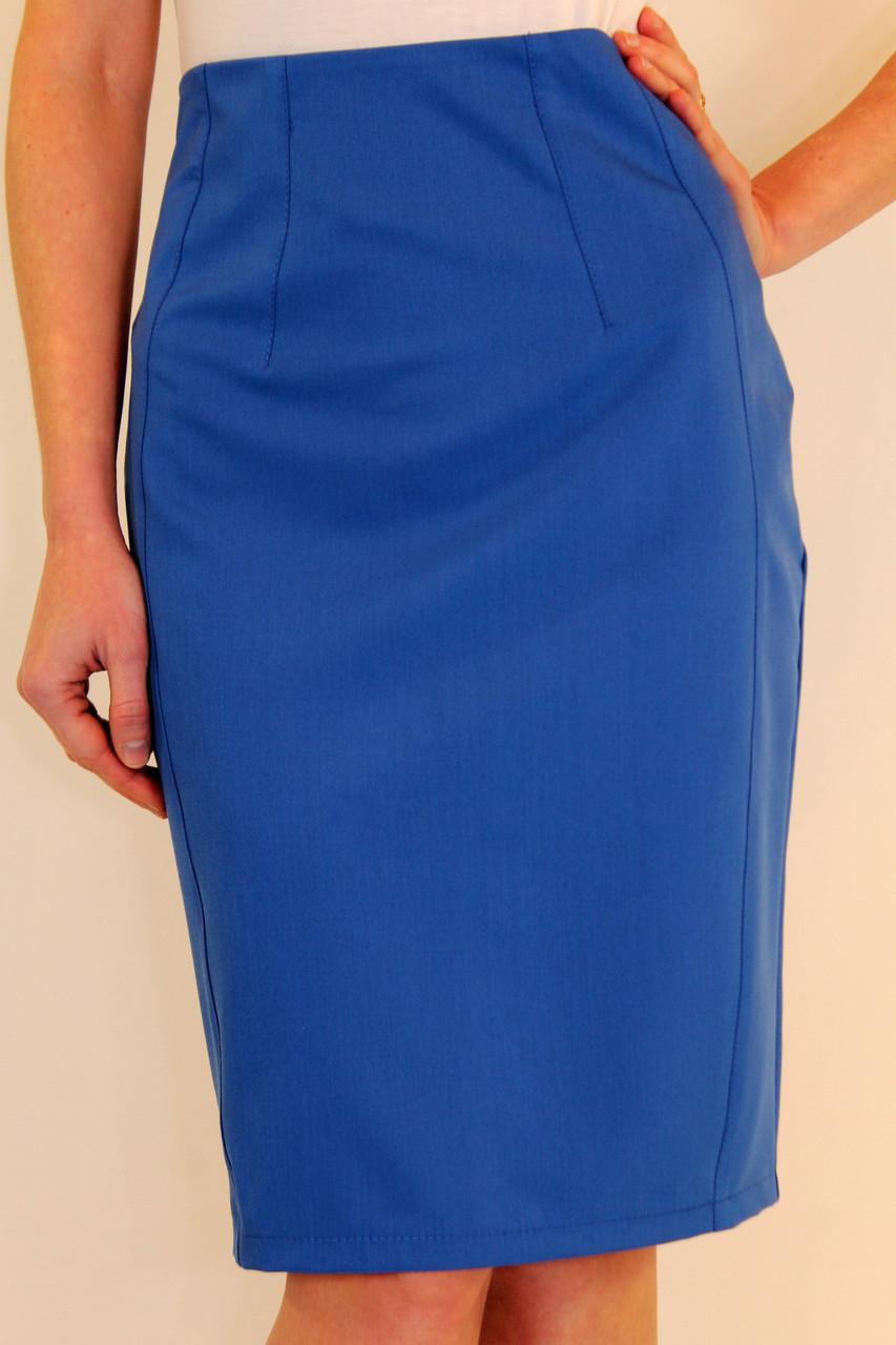 Зауженная юбка карандаш с завышенной талией 44-50 р ( красный, электрик, бирюзовый )