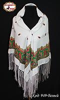 Павлопосадский белый платок Роскошь