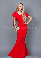 Эффектное красное платье в пол