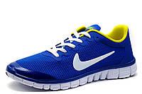 Кроссовки мужские Найк Free Run 3.0 текстиль, синие, фото 1
