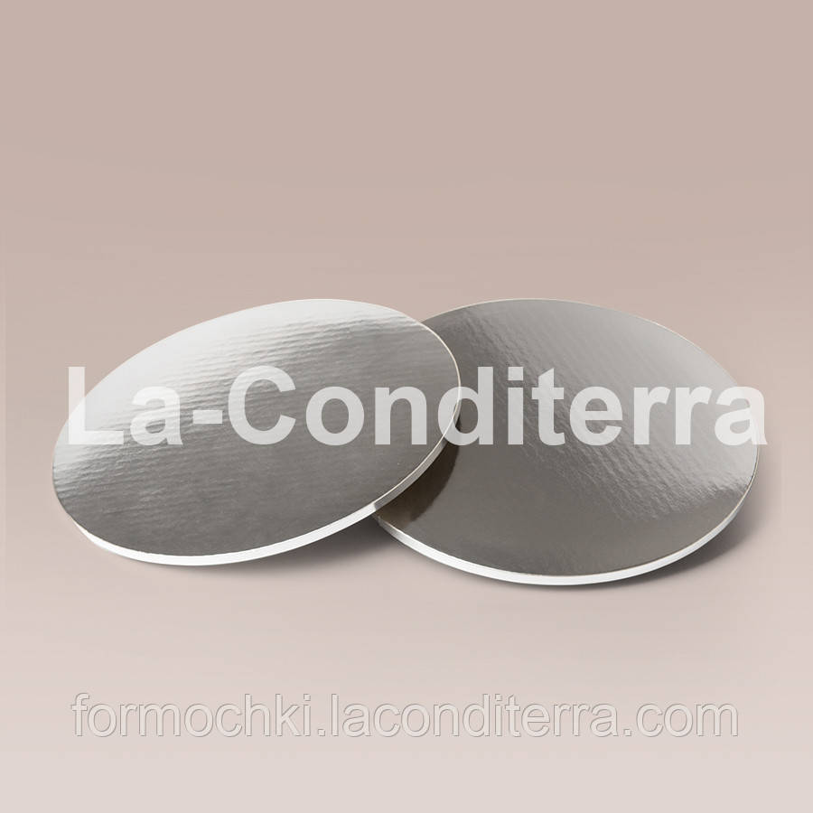 Усиленные подносы для тортов, серебристые (d=30 см, толщина 8 мм)