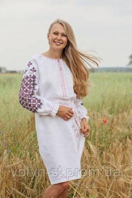 Платье с длинным рукавом вышитое