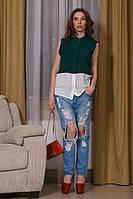 Женская блузка из креп-шифона без рукавов