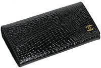 Эффектный кожаный кошелек Chanel (Шанель) 9010-1, черный