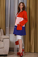 Женский разноцветный кардиган из неопрена и карманами