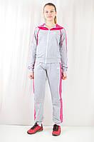 Модный женский спортивный костюм Adidas из ластика, серый.