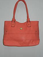 Яркая коралловая сумка женская искусственная кожа мягкая