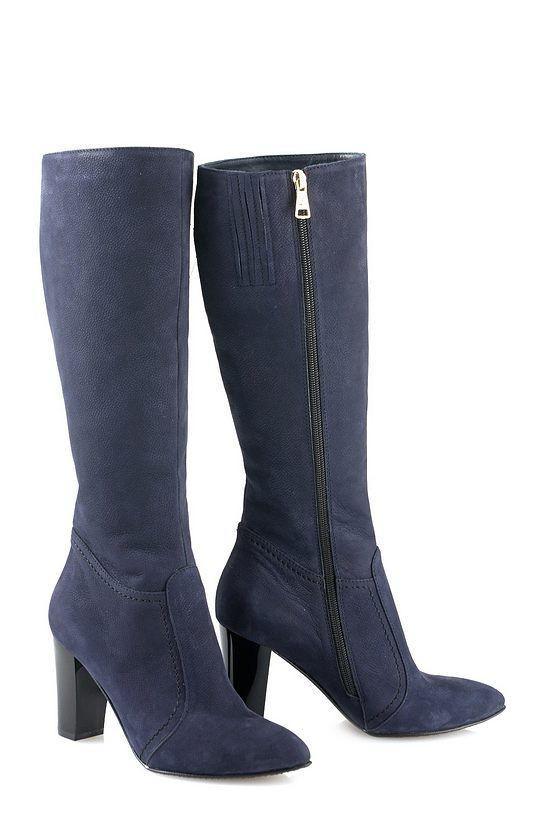 Темно-синие сапоги на каблуке / Women's shoes 80106-1-06