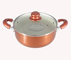 Кастрюля литая алюминиевая с внутренним керамическим покрытием 24 см 5,0 л Vincent VC-3106-24