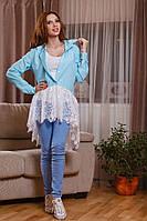 Женская хлопковая блузка с французским кружевом