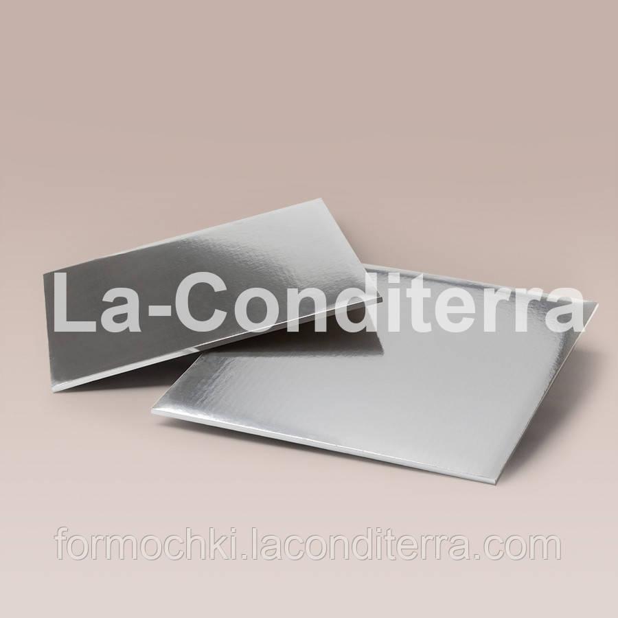 Усиленные прямоугольные подносы для тортов, серебристые (35x45 см, толщина 8 мм)