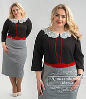 Женское платье с кружевным воротничком (батал)