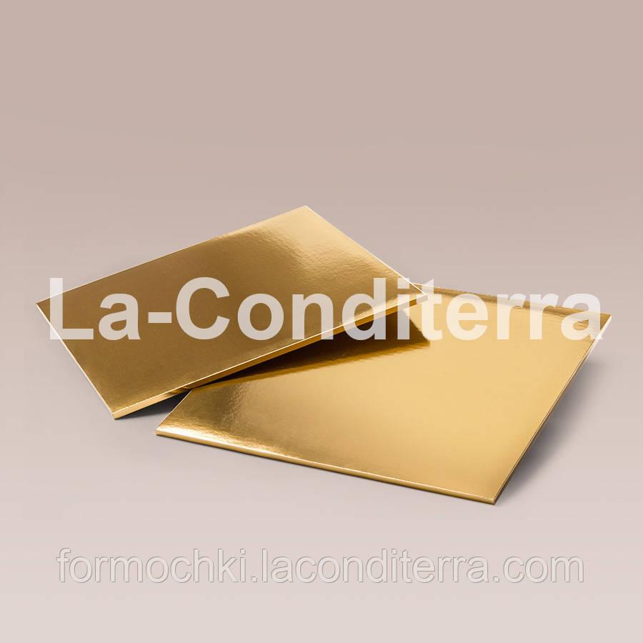 Усиленные прямоугольные подносы для тортов, золотистые (35x45 см, толщина 8 мм)
