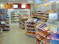 Стеллажи торговые для АЗС. Торговое оборудование WIKO (ВИКО) для магазина при АЗС. Стеллажи с полками