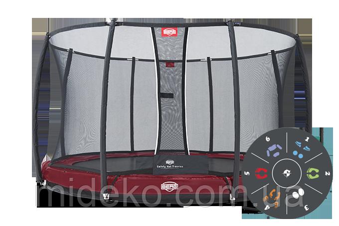 Батут Berg Elite+ Inground Red 430 Tattoo+Safety Net T-series 430, фото 1