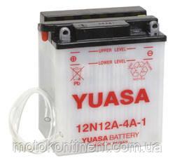 Акумулятор для мотоцикла сухозаряженный YUASA 12N12A-4A-1 12,6 AH 134X80X160