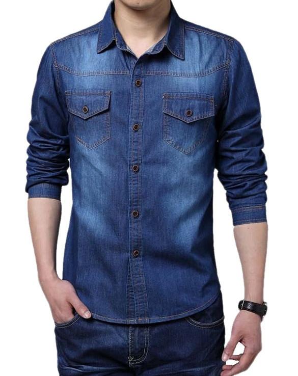 Мужская джинсовая рубашка Ombre Slim Fit СС5911