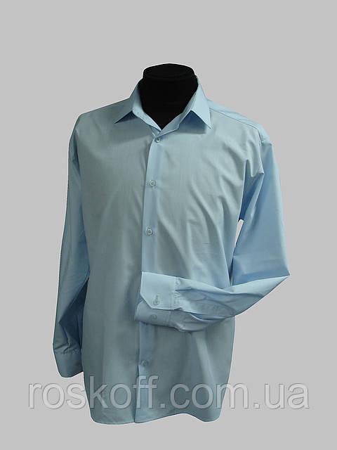 Мужская рубашка светло-голубая на длинный рукав