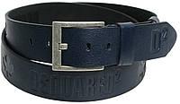 Мужской кожаный ремень под джинсы Skipper 367 Dsquared2 синий ДхШ: 130х4,5 см.