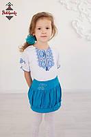 Вишита футболка для дівчинки Гуцулка голуба