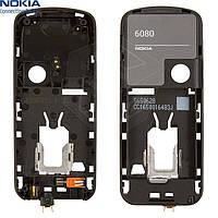 Средняя часть корпуса для Nokia 6080, полный комплект, оригинал (черная)