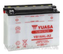 Аккумулятор для мотоцикла сухозаряженный YUASA YB16AL-A2 16Ah 210A 134X80X160, фото 2