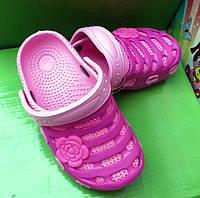Кроксы для девочки с розочкой розовые