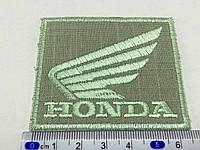 Нашивка HONDA цвет оливковый 67x54мм