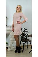 Платье с бантом персик