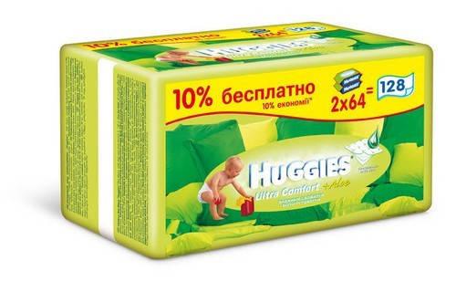 Салфетки влажные Huggies Ultra Comfort Алое DUO 64*2 шт, фото 2