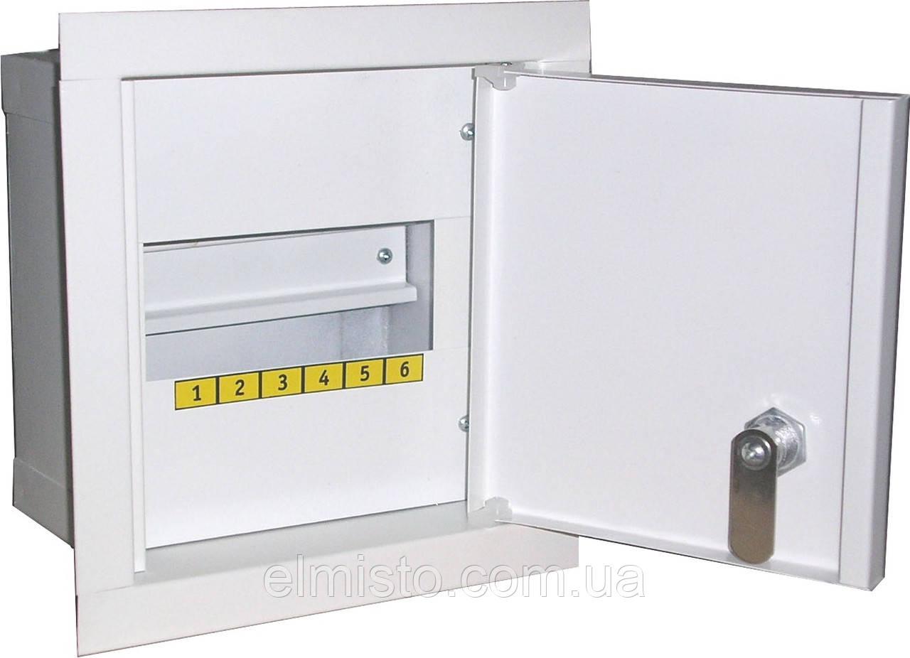 Щит освещения ЩО-А-В-6 металлический на 6 модулей врезной с замком