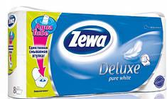 Туалетная бумага Zewa Deluxe Чисто белая 8 рулона 21м/150 листов 3 слоя