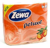 Туалетная бумага Zewa Deluxe персик 4 рулона 21м/150 листов 3 слоя