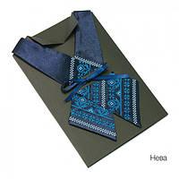 Крос-галстук с вышивкой Нева