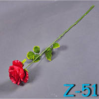 Роза атлас на ножке Z-51 (30 шт./ уп.) Искусственные цветы