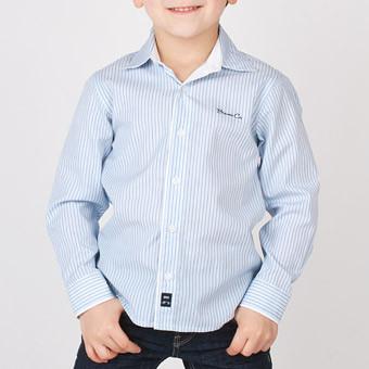 Рубашка классическая в полоску, длинный рукав, на груди вышито Brums Co мал. голубой