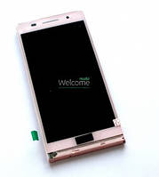 Дисплей (экран) + сенсор (тач скрин) HUAWEI P6 с рамкой pink (оригинал)